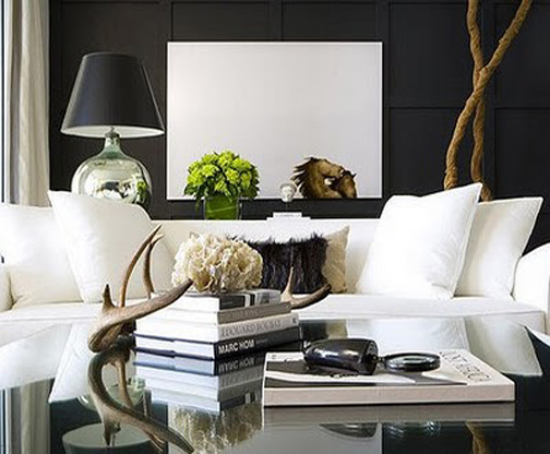 Black-wall-white-couch